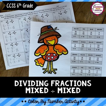 Dividing Fractions (Mixed by Mixed) Color By Number Activity