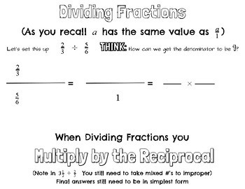 Dividing Fractions-Multiply by the reciprocal