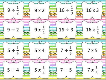 Dividing Fractions Multiplying by the RECIPROCAL Card Match Task Cards Matching