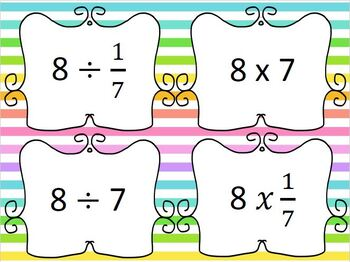 Dividing Fractions Multiplying by the RECIPROCAL Card Match