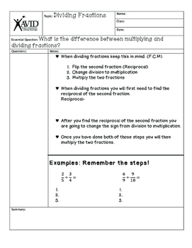 Dividing Fractions Notes