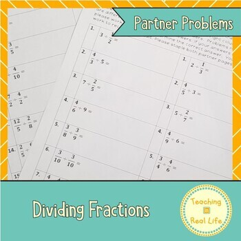 Dividing Fractions Partner Problems