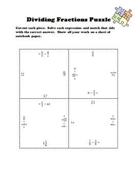 Dividing Fractions Puzzle