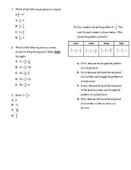 Dividing Fractions Quiz 5NF7b & 5NF3