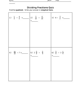Dividing Fractions Quiz, Answers, Reflection