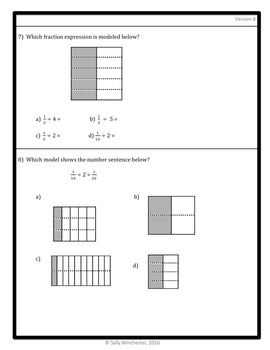 Dividing Fractions Quiz: Fraction by Whole Number, 5.NF.7A Assessment