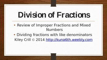 Dividing Fractions - Review of Improper Fractions and Mixed Numbers