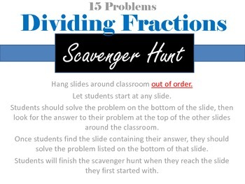 Dividing Fractions Scavenger Hunt