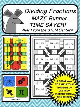 Dividing Fractions Scavenger Maze Runner Time Saver!