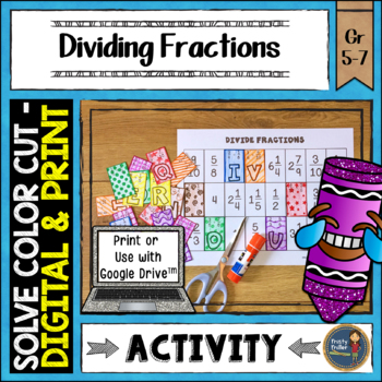 Dividing Fractions Solve, Color, Cut
