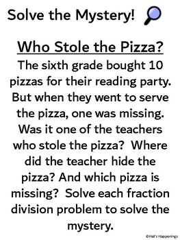 Dividing Fractions Solve the Mystery Puzzle