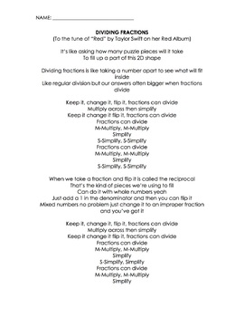 Dividing Fractions Song (Taylor Swift, Red) (Lyrics, Worksheet, Video)