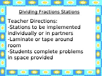 Dividing Fractions Stations!