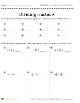 Dividing Fractions (Take It to Your Seat Centers Common Core Math)