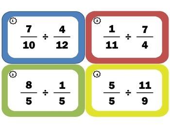 Dividing Fractions Task Cards: Fraction-Division Flash Cards