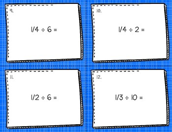 Dividing Fractions Task Cards - With Visuals
