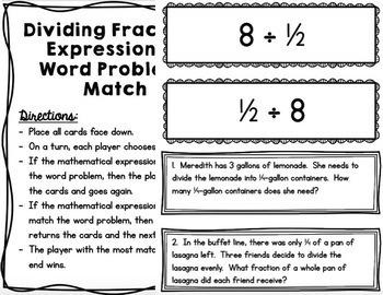 Math - 5th Grade Dividing Fractions Tasks & Activities