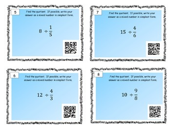 Dividing Fractions - Tasks Cards and QR Codes