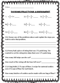 Dividing Fractions- Test / Assessment 6.NS.1