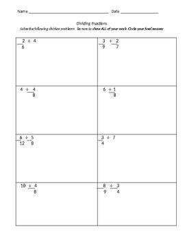 Dividing Fractions Test- Editable