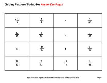 Dividing Fractions Tic-Tac-Toe