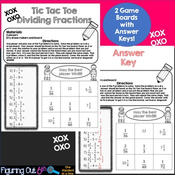 Dividing Fractions Tic Tac Toe