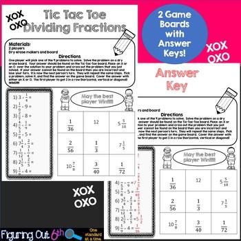 Dividing Fractions Tic Tac Toe