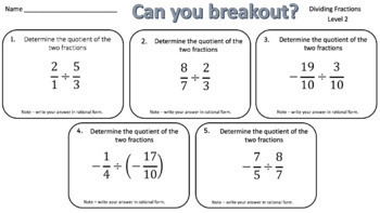 Dividing Fractions – Two Breakout Activities!