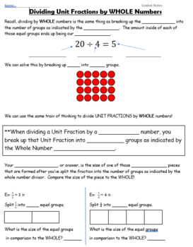 Dividing Fractions UNIT - GUIDED NOTES