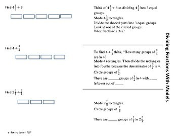 Dividing Fractions Using Models 6.NS.1