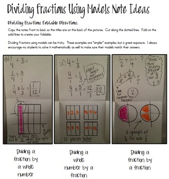Dividing Fractions Using Models Foldable