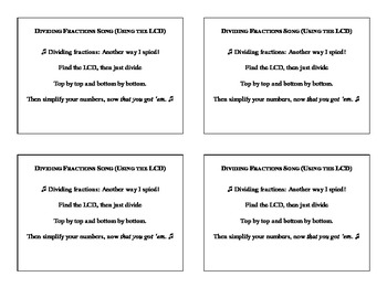 Dividing Fractions Using the LCD (song/poem/rap)