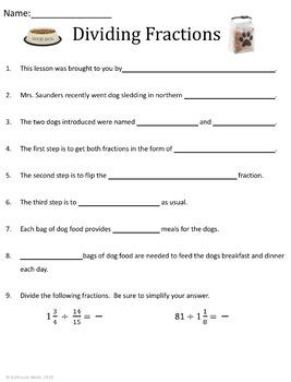Dividing Fractions:  Video Comprehension Worksheet