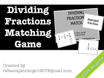 Dividing Fractions Vocabulary Match Game