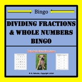 Dividing Fractions & Whole Numbers Bingo (30 pre-made boards!)