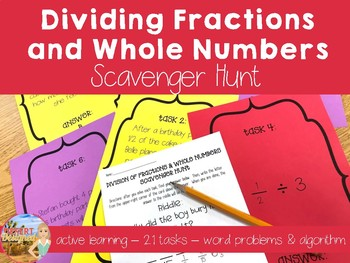 Dividing Fractions & Whole Numbers Scavenger Hunt CCSS