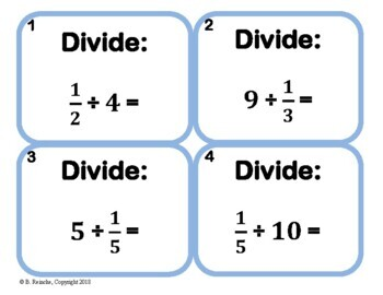 Dividing Fractions & Whole Numbers Task Cards
