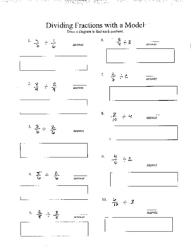 Dividing Fractions Models Worksheets & Teaching Resources | TpT