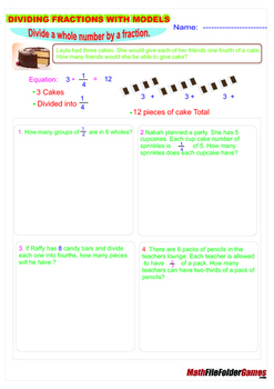 Dividing Fractions With Models  {Poster/Anchor, Cards & Worksheets}