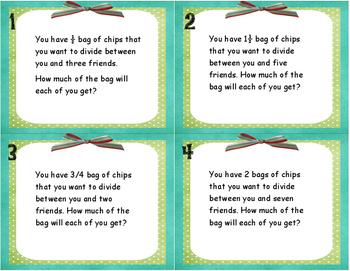 Dividing Fractions Word Problem Task Cards