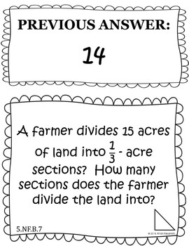 Dividing Fractions Word Problems - Scavenger Hunt (5.NF.B.7)