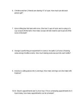 Dividing Fractions Worksheet - 5.3(J)