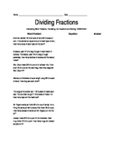 Dividing Fractions Worksheet - Word Problems, Writing & Solving Equations