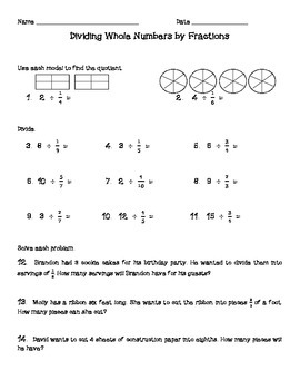 Dividing Fractions Worksheets