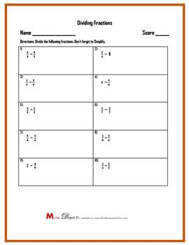 Dividing Fractions Worksheets (Three Worksheets)