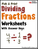 Dividing Fractions Homework and Practice, Fraction Division Sheets