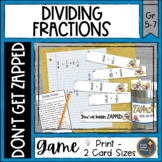 Dividing Fractions Don't Get ZAPPED Math Game