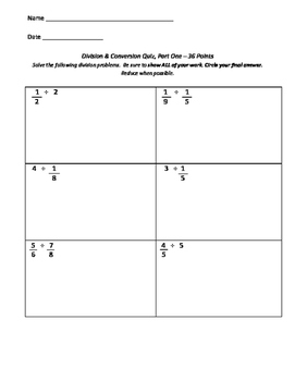 Dividing Fractions and Measurement Assessment