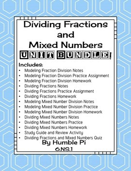 Dividing Fractions and Mixed Numbers Bundle-6.NS.1