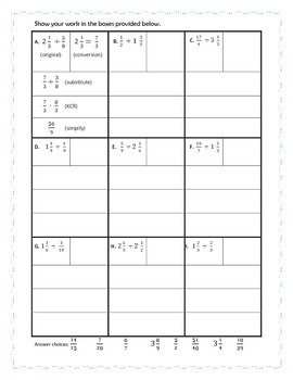 Dividing Fractions and Mixed Numbers Graphic Organizer and Practice